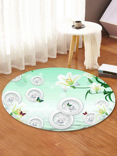 Flowers Pattern Round Area Rug - GREEN 60 CM (ROUND)