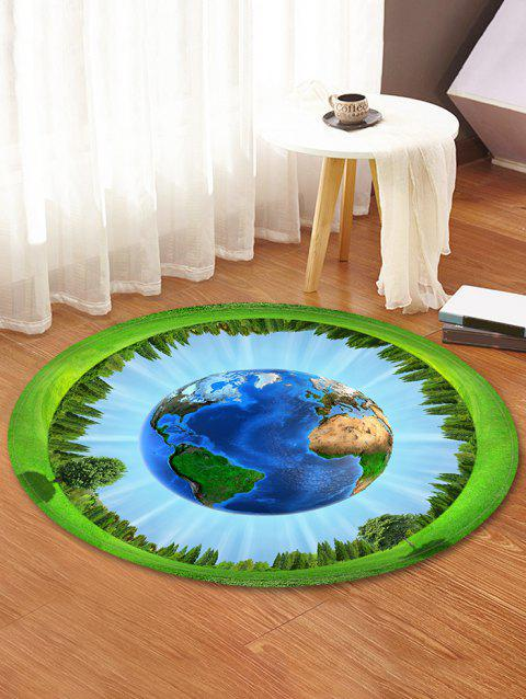 Earth Forest Pattern Round Area Rug - DAY SKY BLUE 60 CM (ROUND)