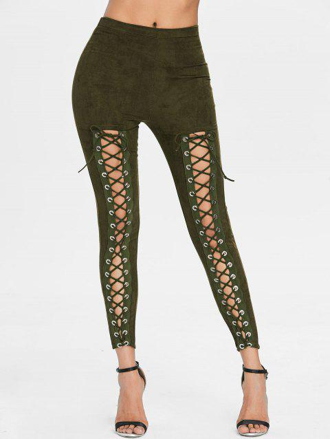 Lace Up High Waist Faux Suede Pants - ARMY GREEN M