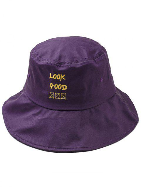 Stylish Fun Letter Embroidery Bucket Hat - PURPLE