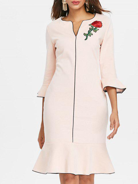 Embroidered Fishtail Dress - LIGHT PINK M