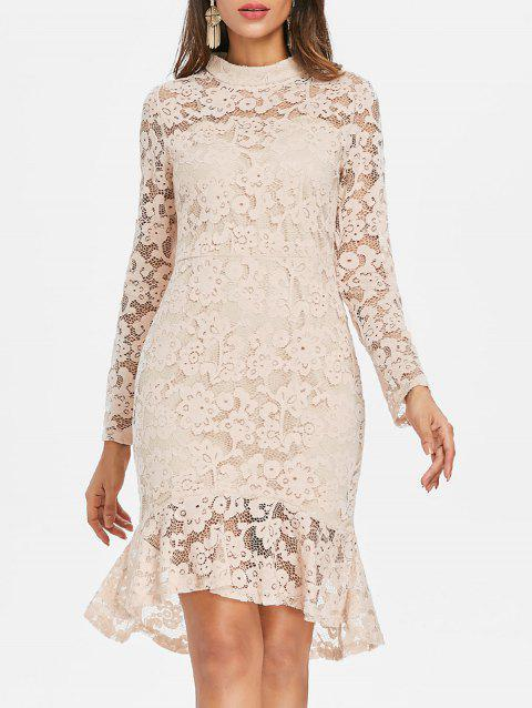 Lace Overlay Fishtail Dress - CORNSILK XL