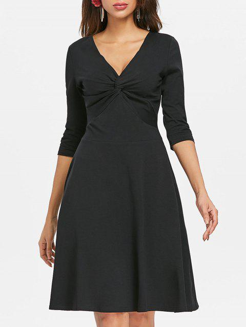 Front Knot Flare Dress - BLACK XL