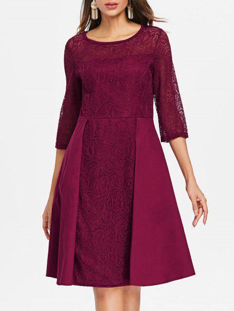 Floral Lace Fit and Flare Dress - RED WINE 2XL