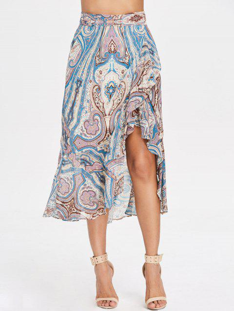 High Waist Paisley Print Ruffled Midi Skirt - multicolor L
