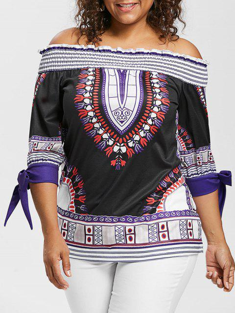 Plus Size Ethnic Print Off Shoulder Peasant Top - BLACK 2X