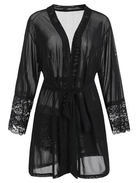 Plus Size Lace Trim Robe with Belt - BLACK 4X