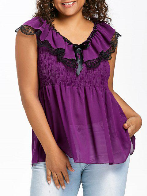 Plus Size Sleeveless Smocked Peplum Blouse - PURPLE JAM 4X