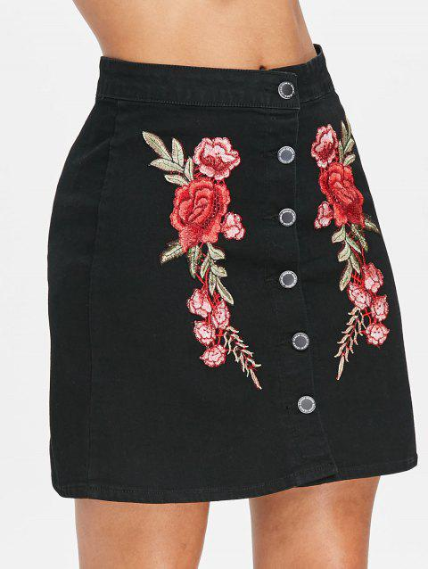 High Waist Embroidered Mini Skirt - BLACK 2XL