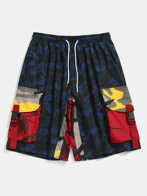 Contrast Camouflage Patch Pockets Cargo Shorts - NAVY CAMOUFLAGE L