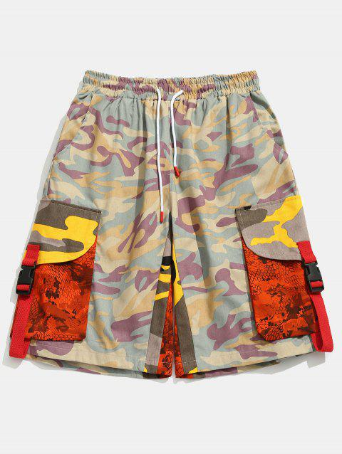 Contrast Camouflage Patch Pockets Cargo Shorts - PINK M