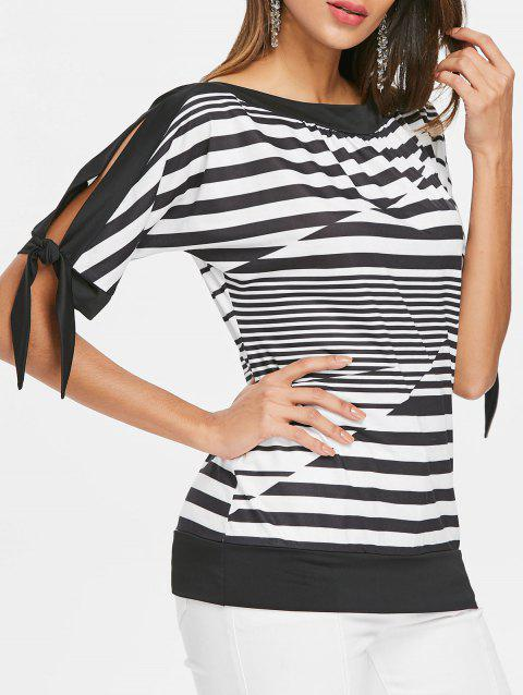 Slit Sleeve Striped Blouson Top - BLACK 2XL