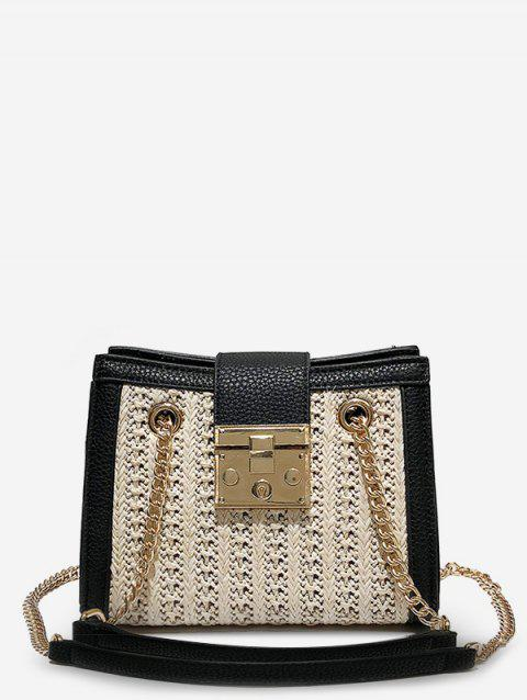 Straw Hasp Panel Chain Shoulder Bag - BEIGE