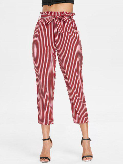 Striped Belted Tapered Pants - RED XL