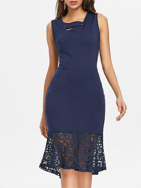 Lace Panel Bodycon Fishtail Dress - MIDNIGHT BLUE XL
