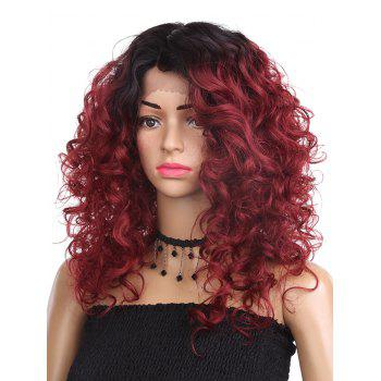 Medium Side Parting Curly Colormix Synthetic Lace Front Wig - RED WINE 16INCH