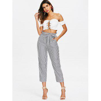 Striped Belted Tapered Pants - GRAY M