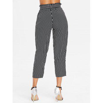 Striped Belted Tapered Pants - BLACK S