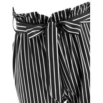 Striped Belted Tapered Pants - BLACK M