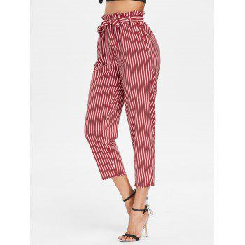 Striped Belted Tapered Pants - RED S
