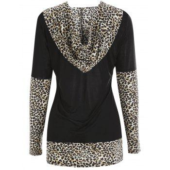 Leopard Print Insert Hooded T-shirt - multicolor B 2XL