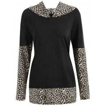 Leopard Print Insert Hooded T-shirt - multicolor B M