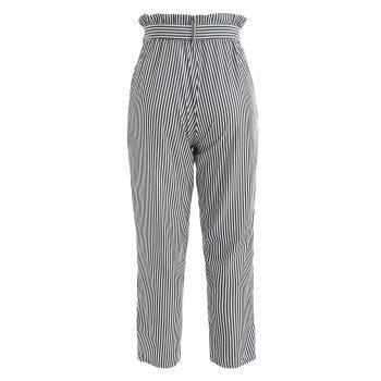 Striped Belted Tapered Pants - GRAY XL