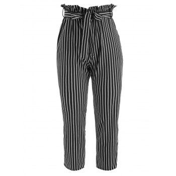 Striped Belted Tapered Pants - BLACK L