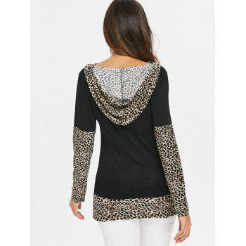 Leopard Print Insert Hooded T-shirt - multicolor B XL