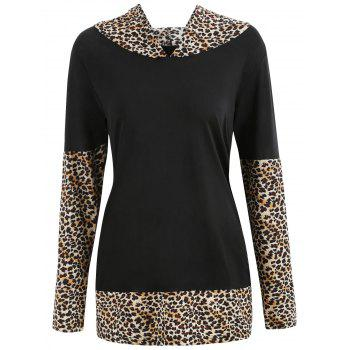 Leopard Print Insert Hooded T-shirt - multicolor A M