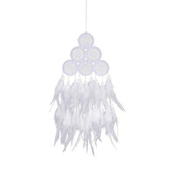 Feathers Fringed Handmade Dream Catcher - WHITE 60*17CM