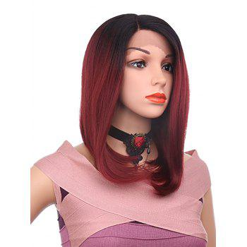 Side Parting Medium Straight Bob Synthetic Lace Front Wig - RED WINE