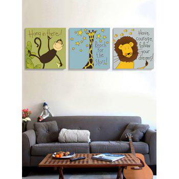 Cartoon Animals Print Unframed Canvas Paintings - multicolor 3PC:16*16 INCH( NO FRAME )