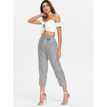 Lace Up Crop Top - WHITE S