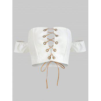 Lace Up Crop Top - WHITE M