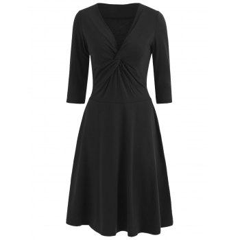 Front Knot Flare Dress - BLACK M