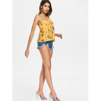 Tie Knotted Floral Print Cami Top - YELLOW L