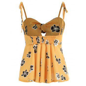 Tie Knotted Floral Print Cami Top - YELLOW S