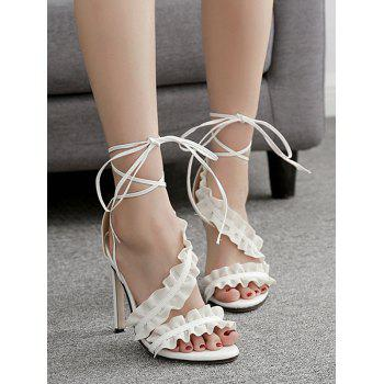Leisure High Heel Ruffles Lace Up Sandals - WHITE 36