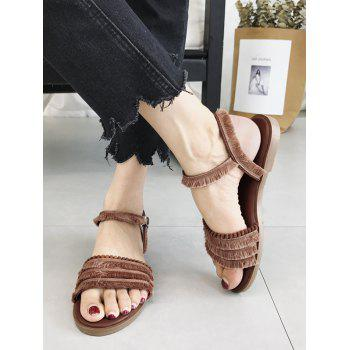 Chic Fringes Flat Heel Slingback Sandals - BROWN 37