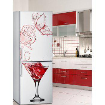 Red Wine Glass Print Refrigerator Art Stickers - multicolor 1PC:24*59 INCH( NO FRAME )