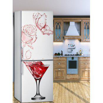 Red Wine Glass Print Refrigerator Art Stickers - multicolor 1PC:24*71 INCH( NO FRAME )