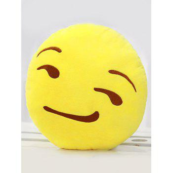 Cartoon Smile Face Emoticon Print Pillow Case - YELLOW