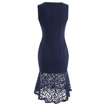 Lace Panel Bodycon Fishtail Dress - MIDNIGHT BLUE S