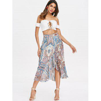 High Waist Paisley Print Ruffled Midi Skirt - multicolor XL