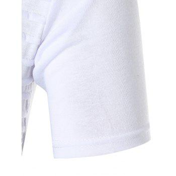 Chest Pleated Camouflage Splicing Casual T-shirt - WHITE M