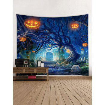 Halloween Pumpkins Tree Wall Tapestry Hanging Decoration - multicolor W79 INCH * L71 INCH