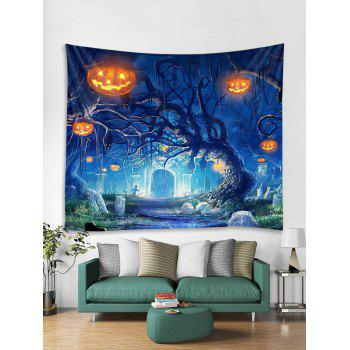 Halloween Pumpkins Tree Wall Tapestry Hanging Decoration - multicolor W79 INCH * L59 INCH