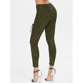 Lace Up High Waist Faux Suede Pants - ARMY GREEN L