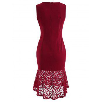 Lace Panel Bodycon Fishtail Dress - RED WINE M